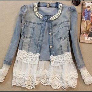 Jackets & Blazers - Denim jacket with lace trim
